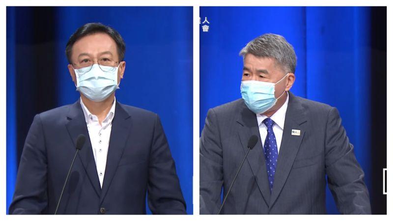▲國民黨主席辯論會登場,候選人卓伯源(左)、張亞中發表政見。(圖/取自國民黨Youtube直播、NOWnews組圖)