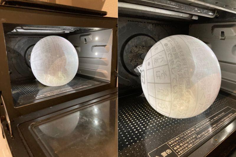 ▲原PO發現自己忘記撕下一角,所以才導致包裝膨脹成奇特球體。(圖/翻攝自《@Feiglingskatze》Twitter)