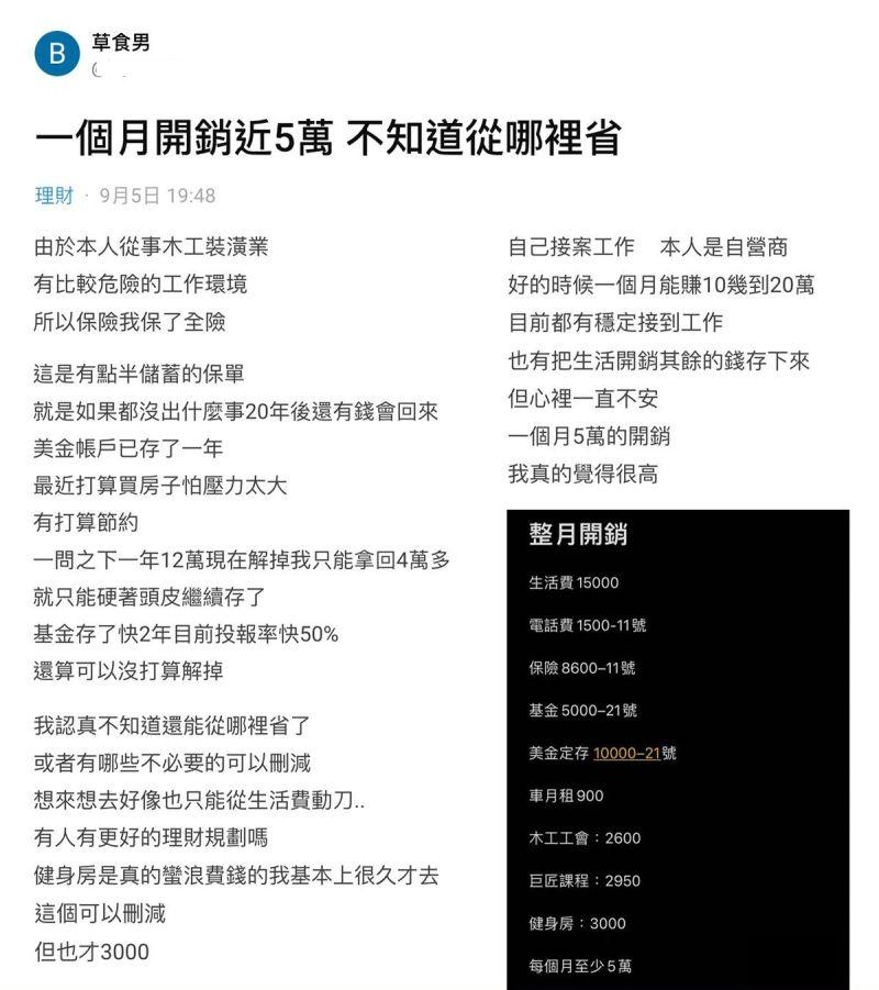▲不少網友看完原PO的支出列表後,紛紛認為他誤會開銷的意思。(圖/翻攝Dcard)