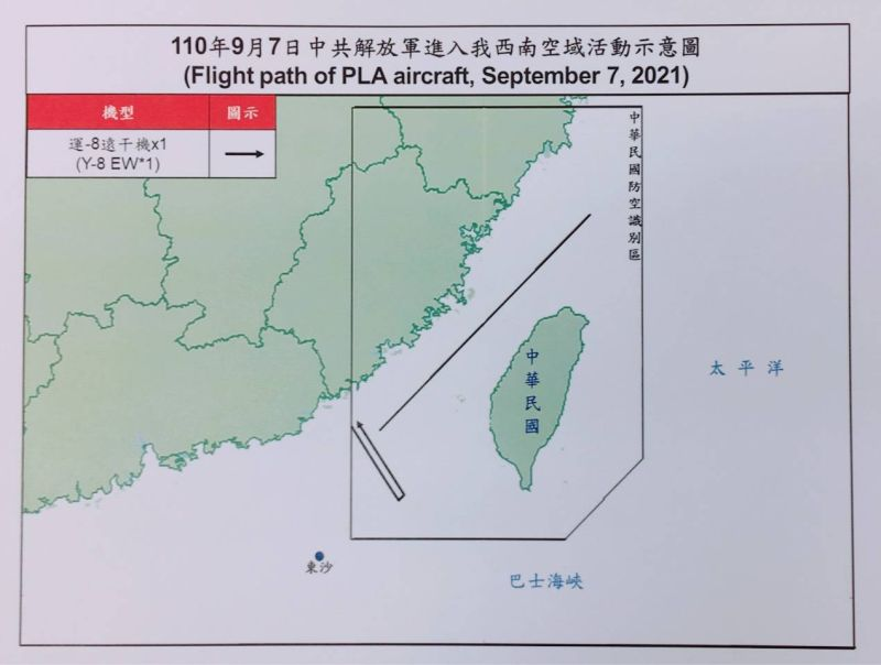 ▲國防部公布7日共機擾台路線示意圖。(圖/國防部提供)