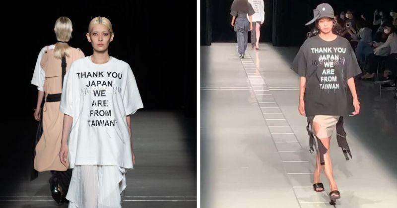 ▲台灣設計品牌Seivson近期於日本東京時裝週上大秀「感謝日本我們來自台灣」等字樣在時尚上衣上,獲得台灣和日本粉絲的讚揚。(圖/擷取自 FashionSnap 和Seivson/Instagram))