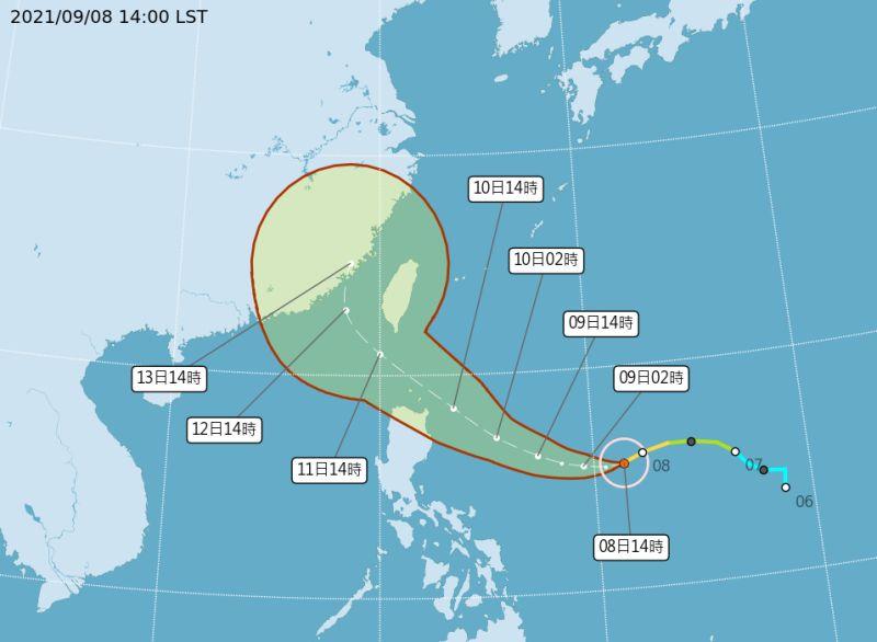 ▲氣象局預測璨樹將於今明兩天增強為強烈颱風,11日起將影響台灣。(圖/中央氣象局提供)