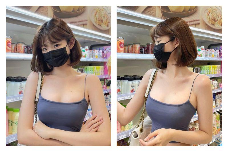 ▲一位正妹穿著小背心逛超市,照片引發網友熱議。(圖/翻攝自@weitinggg___的IG)