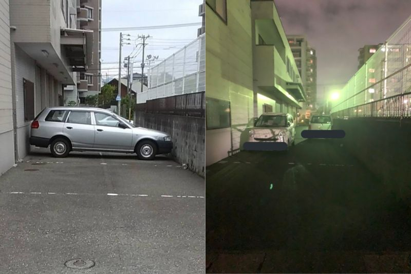 ▲那台汽車的車頭、車尾都緊貼著牆壁,讓網友笑說「是飄移進去的吧」。(圖/翻攝自《@HAGE_TORA_CMR》Twitter)