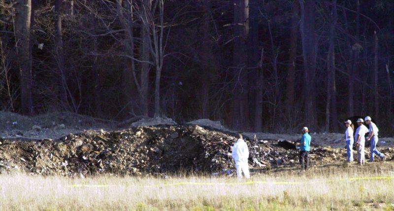 ▲第四架遭劫持的飛機墜毀在賓州一處無人田地,機上無人生還。(圖/美聯社/達志影像)