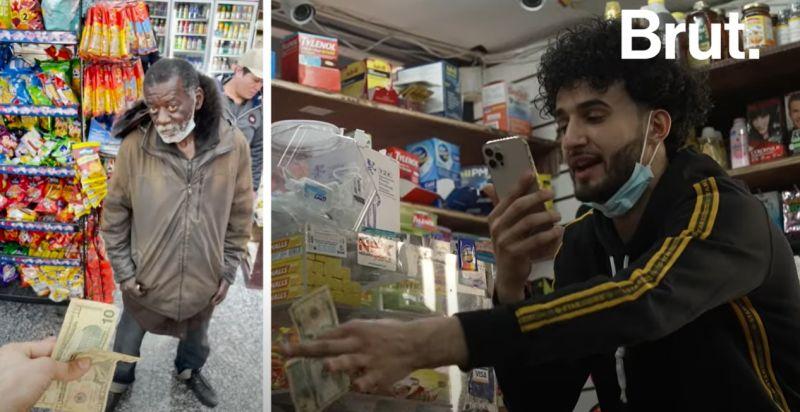▲美國紐約布朗克斯區(The Bronx)的超商店長Ahmed Alwan告訴客人,只要答對他的小問題就能在5秒內免費拿走想要的東西。(圖/翻攝自Brut America)