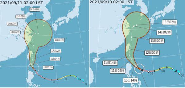 ▲強颱「璨樹」受到「太平洋高壓」導引,向北北西轉北,沿台灣東側北上,「不確定性」範圍(紅框)已較昨日(右圖)明顯縮小。(圖/翻攝三立準氣象.老大洩天機)