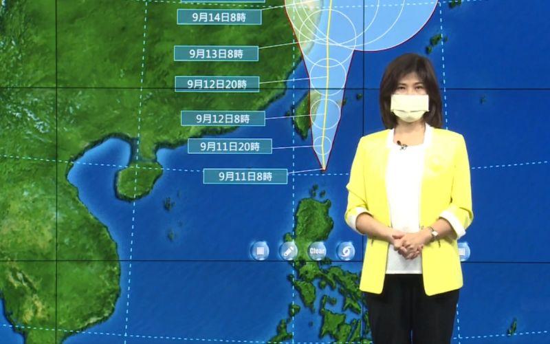 ▲氣象局指出今(11)日上午8點多指出,強烈颱風「璨樹」正在影響東南部海面以及巴士海峽,暴風圈即將影響東南方陸地,預估週六週日是最接近台灣的時候。(圖/氣象局直播)
