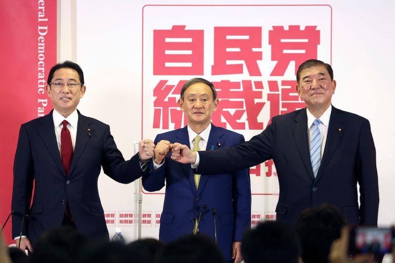 ▲圖為2020年自民黨總裁選舉,當時由菅義偉勝出。(圖/美聯社/達志影像)