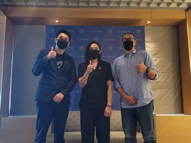 ▲T1聯盟會長錢薇娟(中)、秘書長張運智(右)、賽務長賈凡(左)。(圖/黃建霖攝)