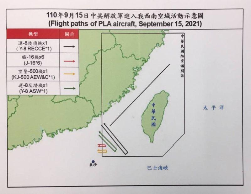 ▲國防部公布15日9架次共機擾台路線示意圖。(圖/國防部提供)