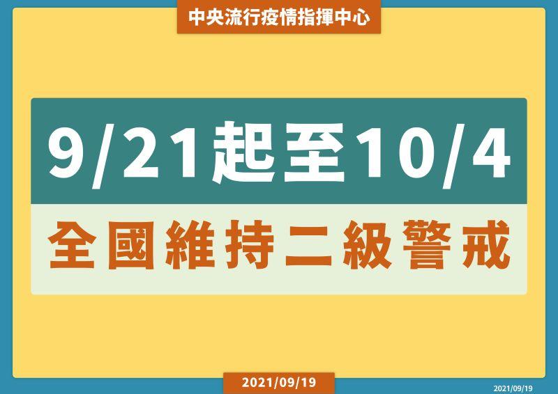 ▲指揮中心今(19)日表示,21日至10月4日維持疫情警戒標準為第二級。(圖/指揮中心提供)