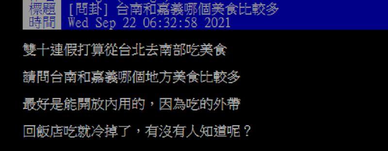▲有網友在PTT請益大家「請問台南和嘉義哪個地方美食比較多?」掀起討論。(圖/翻攝自PTT)