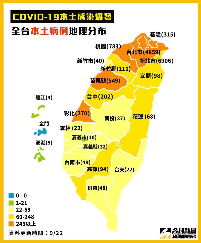 ▲中央流行疫情指揮中心22日公布國內新增1例本土,全台本土病例地理分布。(圖/NOWnews製表)