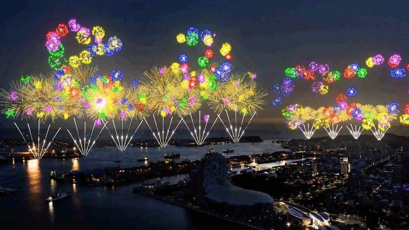 ▲ 2021國慶焰火模擬影像。(圖/高市府提供)