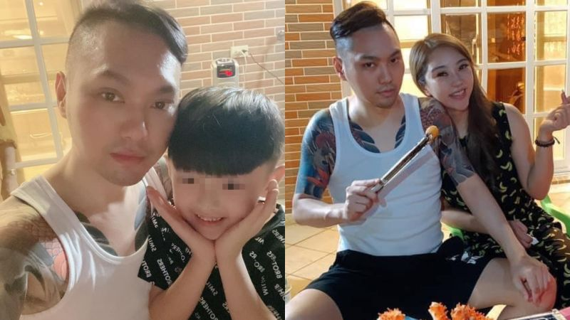 ▲連千毅(左圖左)分享與兒子烤肉照,身旁女伴卻不是老婆。(圖/連千毅臉書)