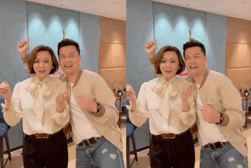 ▲關之琳(左)和呂良偉一起跳舞,風采依舊。(圖/呂良偉微博)