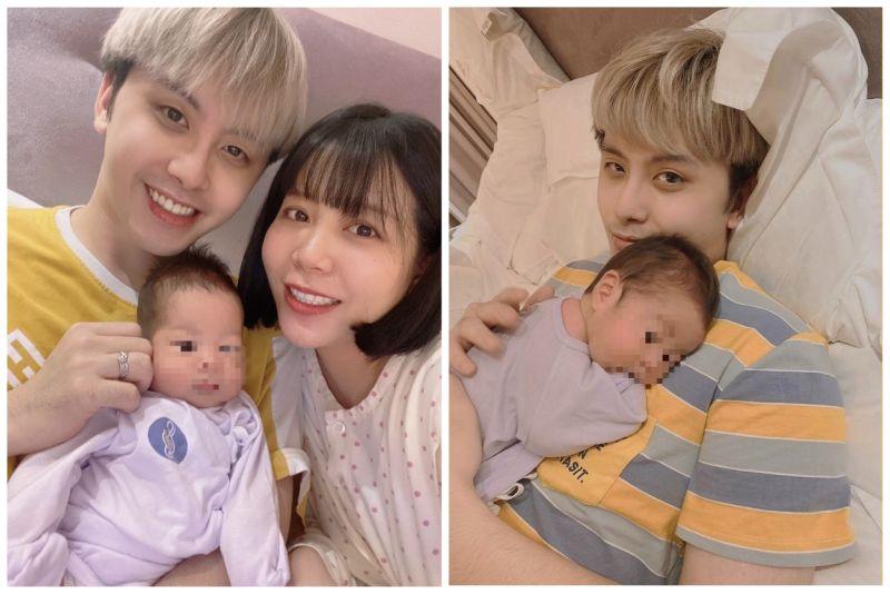 ▲田亞霍(左圖左、右圖)帶兒子很有一套,換尿布、拍嗝都難不倒。(圖/大鵬傳播提供)