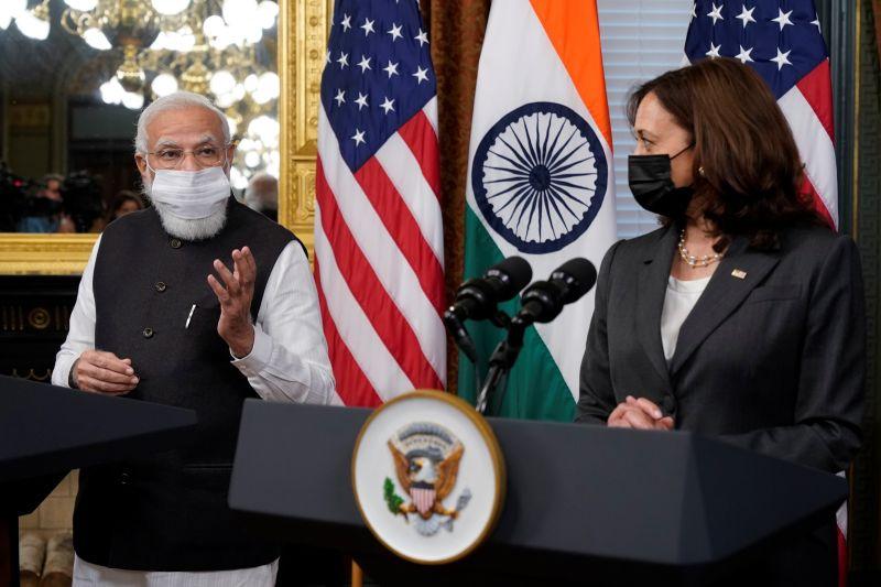 ▲美國副總統賀錦麗今天在白宮會見印度總理莫迪,強調印度太平洋地區自由開放的重要性。(圖/美聯社/達志影像)