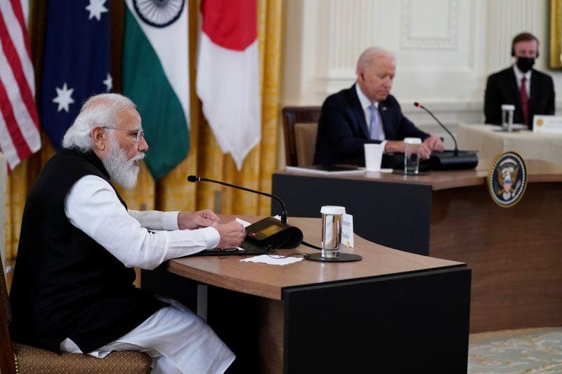 ▲莫迪在四方安全對話領袖峰會的公開致詞中強調,貿易與科技合作將是印美關係發展的主軸,未提中國及印美安全合作。(圖/美聯社/達志影像)