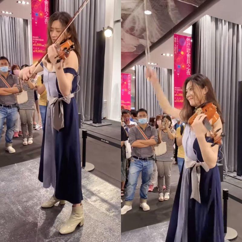 ▲林逸欣洋裝開始往下掉,仍敬業撐完整場表演。(圖/林逸欣臉書)