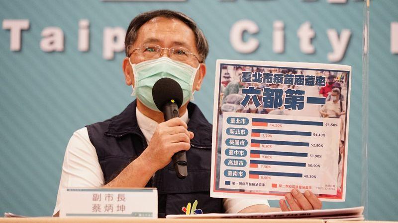 ▲台北市副市長蔡炳坤27日宣布,28日起開放70歲以上長者,若已經在7月16日以前施打第一劑莫德納疫苗者,將能上網預約施打第二劑。(圖/台北市政府提供)