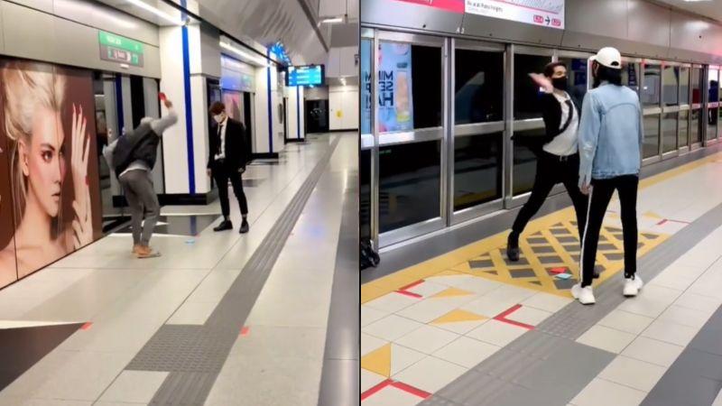 ▲在馬來西亞的捷運站內,更上演了《魷魚遊戲》劇中經典環節。(圖/翻攝抖音Syazwan Evans)