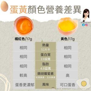 ▲美女營養師程涵宇分析黃色蛋黃與橘色蛋黃的營養差異。(圖/翻攝自程涵宇臉書)