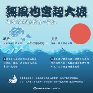 ▲中颱蒲公英正往日本接近,距離台灣還有1600公里,氣象局提醒週末前往東半部民眾,儘管岸邊晴朗、無風,仍需多加留意長浪發生。