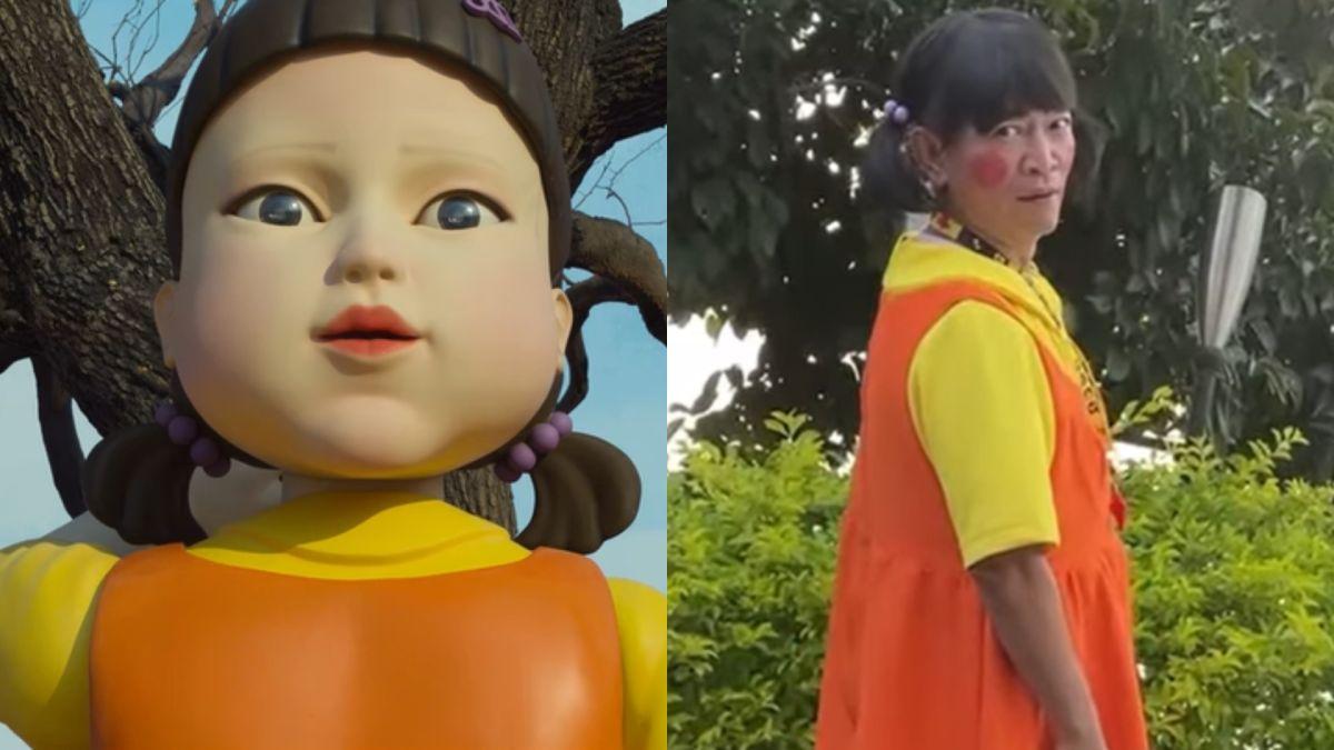 ▲憲哥(右圖)模仿《魷魚遊戲》中的女鬼娃。(圖/翻攝Netflix、吳宗憲臉書)