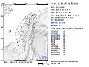 ▲今(4)日下午2點07分,台灣北部發生有感地震。(圖/翻攝氣象局網站)