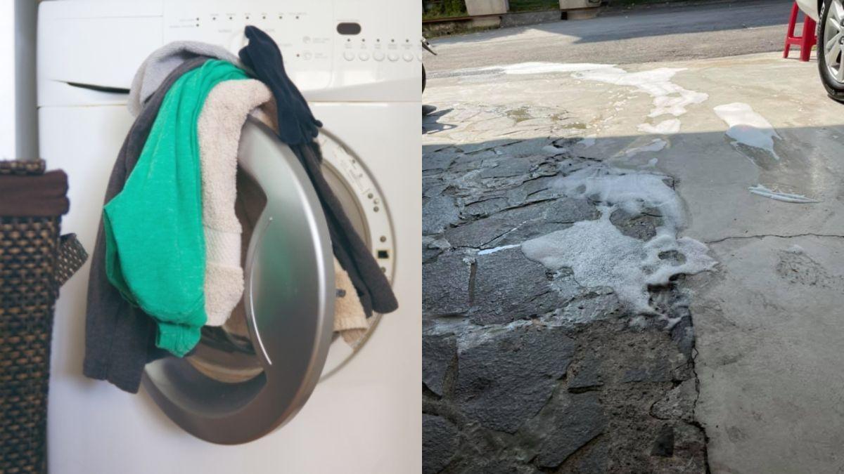 ▲有網友發現住處門口不斷冒出泡沫,竟與3樓洗衣服有關聯。(圖/翻攝PhotoAC/《爆系知識家》)