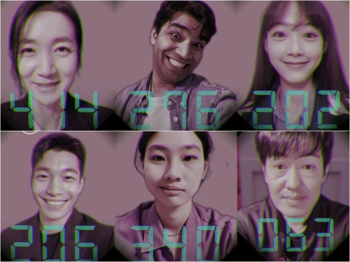 ▲金姝怜(上台左起)、崔帕西阿努潘、李瑜美、魏嘏雋(下排左起)、鄭浩妍、許成泰戲外接受舔糖餅挑戰。(圖/The Swoon YouTube)