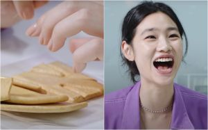 ▲鄭浩妍弄破糖餅,手狂抖。(圖/The Swoon YouTube)