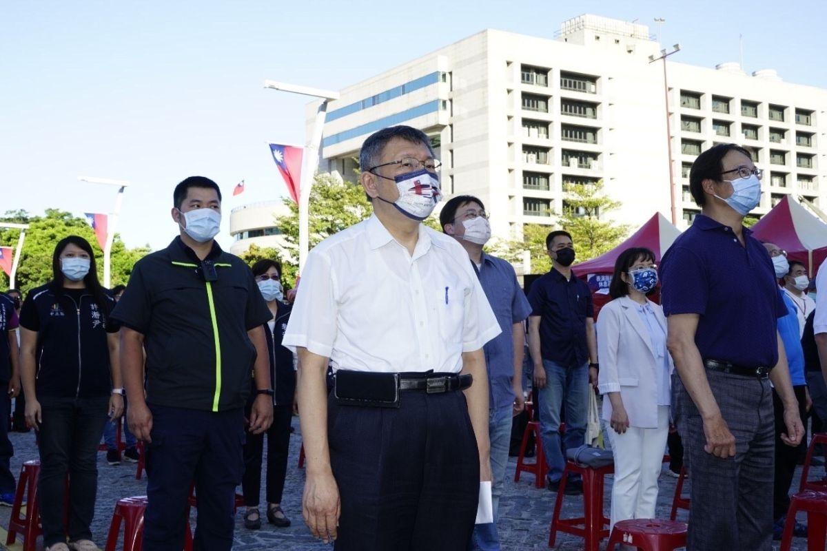 ▲台北市長柯文哲出席市府國慶升旗典禮。(圖/北市府提供)
