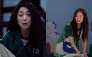 ▲全昭旻(右)百分百還原《魷魚遊戲》中的「韓美女」角色。(圖/Netflix、Running Man YouTube)