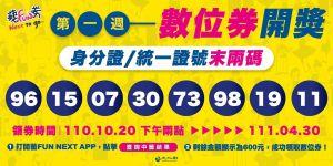 ▲數位券中籤號碼96、15、07、30、73、98、19、11。(圖/文化部提供)