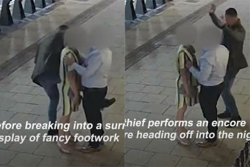 ▲巴霍賈布爾用跳舞的方式,接近這對夫妻,分散他們的注意力,趁機偷走對方的財物。(圖/翻攝自《West Midlands Police》YouTube)