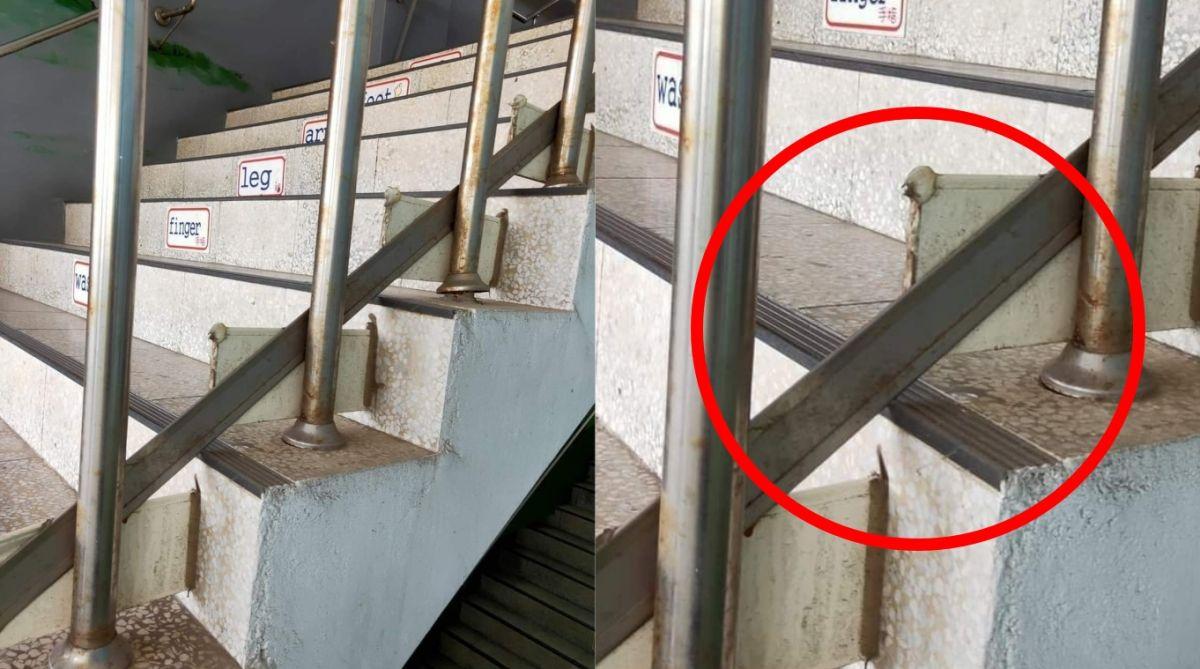 ▲你曾注意過一般樓梯的扶手旁安裝的「長形鐵片」嗎?為何得額外增設這塊鐵片的背後原因也引來不少網友推測。(圖/翻攝自臉書社團《爆廢公社二館》)