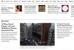 ▲外媒報導高雄城中城大火。(圖/翻攝自《紐約時報》)